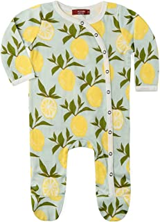 MilkBarn Organic Cotton Footed Romper Lemon