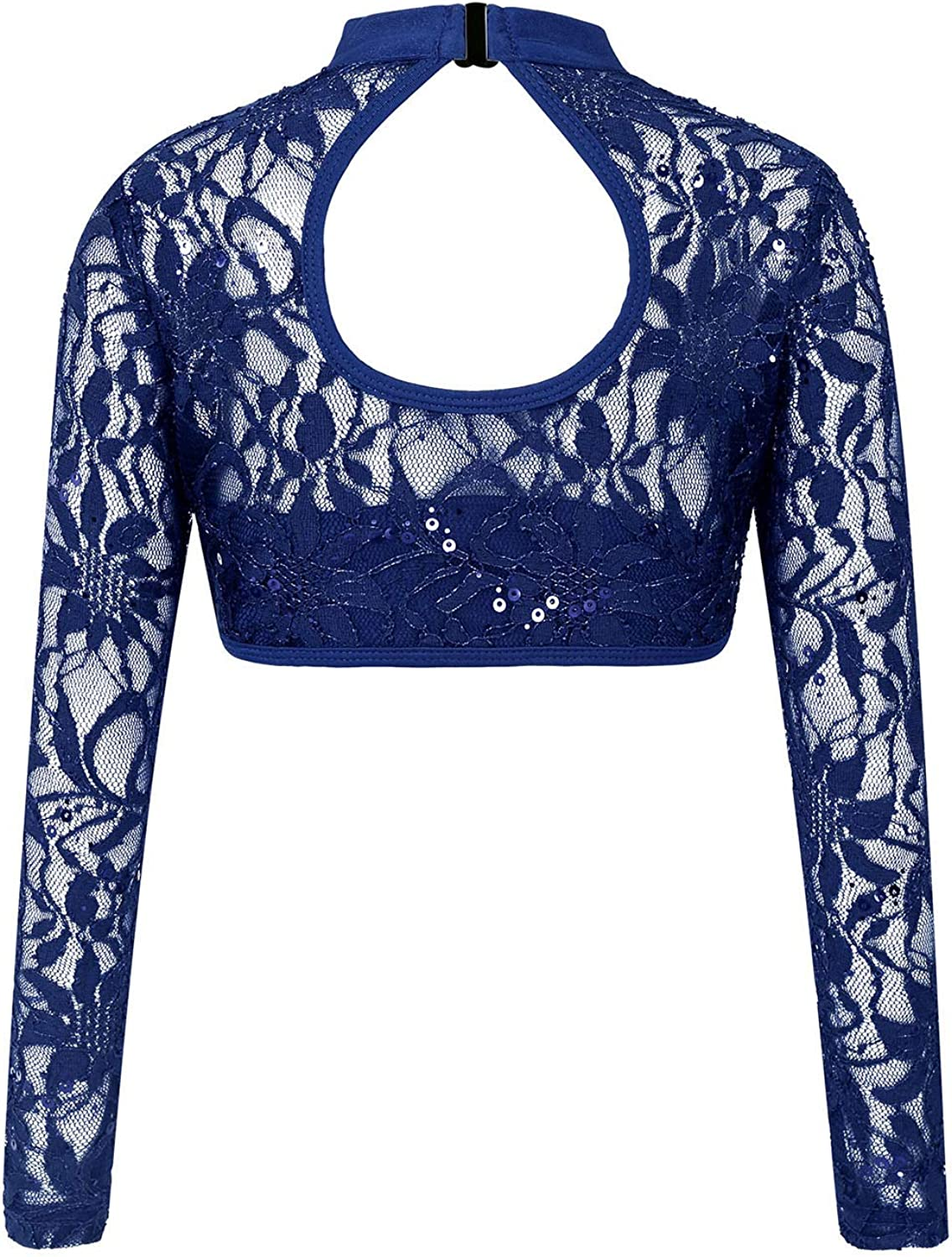 Oyolan Kids Girls Jazz Floral Lace Sequins See-Through Lace Keyhole Back Crop Top for Latin Sports Dance