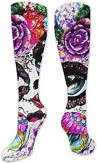 NAA Knee High Sock Girl Sugar Skull Makeup Flower Crown Thigh High Long Socks Leg Stocking Winter Warmer 50CM
