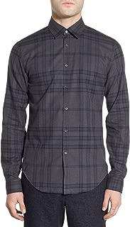 London 'Shelbon' Trim Fit Flannel Sport Shirt in Size Medium Dark Charcoal