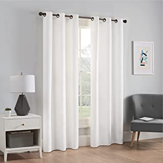 """ECLIPSE Microfiber Thermal Insulated Single Panel Grommet Top Darkening Curtains for Living Room, 42"""" x 63"""", White"""