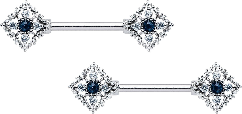 Body Candy 14G Womens Nipplerings Piercing 316L Steel 2Pc Clear Blue Accent Rhombus Nipple Ring Set 9/16
