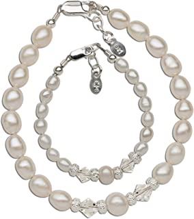 Sterling Silver Mom and Me Cultured Pearl Bracelet Set with Swarovski Crystals for Mother and Daughter