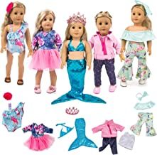 ebuddy 5 Sets Clothes with Popular Elements Horn Style,Flamingo,Leather Jacket,Mermaid for 18 inch American Girl,OG Doll
