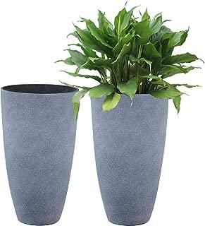 Tall Planters Set 2 Flower Pots, 20 Inch Each, Patio Deck Indoor Outdoor Garden Resin Planters, Gray