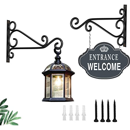 Fashion&cool Wall Hanging Plant Brackets, 12 Inch Heavy Duty Retro Outdoor Indoor Hand Forged Cast Iron Bracket Hummingbird Plant Hanger Hook for Hanging Plants Bird Feeder Lantern Wind Chimes