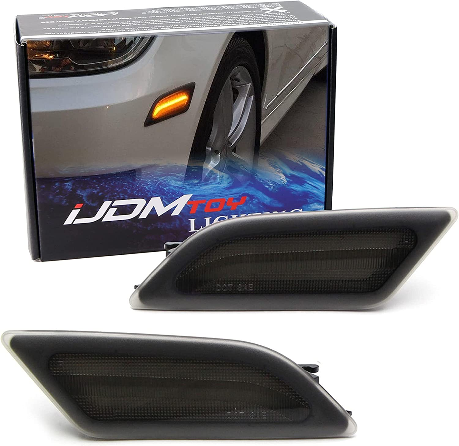 iJDMTOY Super special price Smoked Lens Amber Full LED Max 70% OFF Marker Kit Light Front C Side