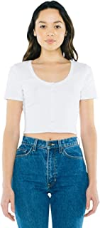 American Apparel Women's Cotton 2x2 Button Front Short Sleeve Crop Top
