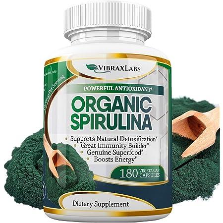 Espirulina Orgánica 100 Puro 1000 Mg Porción 500 Mg Cápsulas Vegetarianas Suplemento En Polvo Apoya La Desintoxicación Natural Beneficia La Salud A Nivel Celular Mejor Con Chlorella Suministro De 3