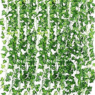 RECUTMS 84 FT Artificial Ivy Fake Greenery Leaf Garland Plants Vine Foliage Flowers Hanging for Wedding Party Garden Home Kitchen Office Wall Decoration?12 Pack?