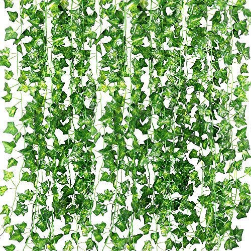RECUTMS 84 FT Artificial Ivy Fake Greenery Leaf Garland Plants Vine Foliage Flowers Hanging for Wedding Party Garden Home Kitchen Office Wall Decoration12 Pack