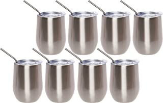 Mindful Design 8 Pack Stainless Steel Leak Proof Wine Glass Tumbler - 12 oz Shatterproof Reusable Drink Cup w/Metal Straw for Travel & Outdoors (Silver)