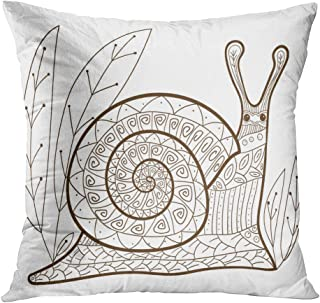 Suklly Throw Pillow Cover Square 20x20 Inch Adult Coloring Page Cute Snail Whimsical Line for Colouring Cushion Home Sofa Decor Hidden Zipper Polyester Pillowcase