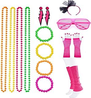 Women's 80s Costume Accessories Set Neon Necklace Bracelet Earrings Fishnet Gloves Leg Warmers shutters Glasses for Party Cloth Accessory
