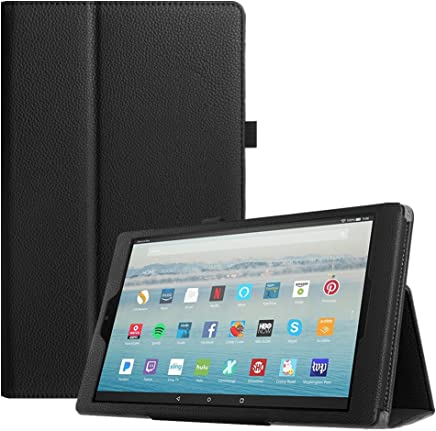 """Fintie Folio Case for All-New Amazon Fire HD 10 Tablet (7th Generation, 2017 Release) - Premium PU Leather Slim Fit Smart Stand Cover with Auto Wake/Sleep for Fire HD 10.1"""" Tablet, Black"""