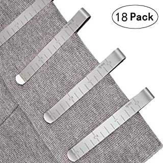 Efaster 18/22/30 Pcs Sewing Clips,Stainless Steel Hemming Clips Measurement Ruler Quilting Supplies,Stainless Steel Ruler Hem Clips,Curtain Clips Measuring Guides (18)