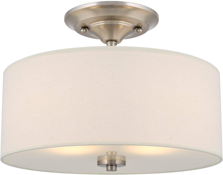 Kira Home Addison 13  2-Light Semi-Flush Mount Ceiling Light Fixture with Off-White Fabric Drum Shade, Brushed Nickel Finish