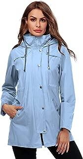 Women Rain Jacket Striped Lined Hooded Lightweight Outdoor Waterproof Raincoat