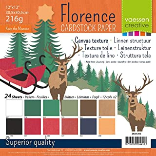 Vaessen Creative Papier Cartonné Florence Multipack de Noël, 216 Grammes, pour Scrapbooking, Création de Cartes, Découpe e...