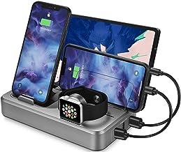 Sendowtek USB Charging Station Multi Devices 5-Port 50W Fast Charger Docking Station QC 3.0 Desktop Watch Stand Organizer ...