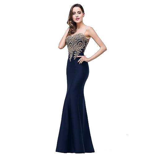 d1be458fb0312f Babyonline Women's Lace Applique Long Formal Mermaid Evening Prom Dresses
