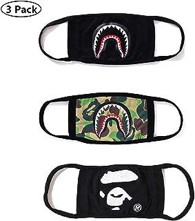NF orange 3 Pack Bape Bathing Ape AAPE Shark Black Camouflage Mouth Face Mask Cotton Mouth-Muffle