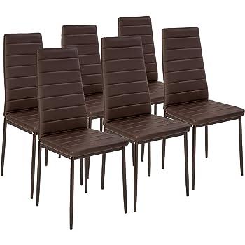 TecTake Set de sillas de Comedor 41x45x98,5cm cantidades - (6X Marrón | No. 401849): Amazon.es: Hogar
