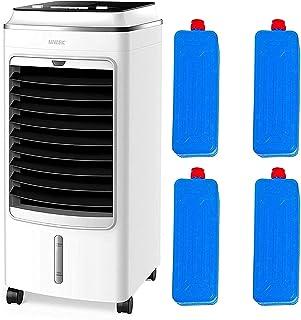 MYLEK - Enfriador de aire portátil para el hogar, móvil evaporativo, 3 velocidades de ventilador, humidificador de enfriamiento y función de oscilación