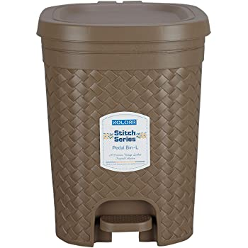 Kolorr Stitch Pedal Waste Bin Modern Design Trash Can Plastic Dustbin - 15L (Brown)