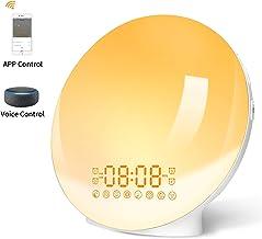 LBELL Luz Despertador, Wake up Light LED Digitales Wifi con Simulación de Amanecer/Atardecer reloj despertador con Radio FM Función Snooze Alarma 7 colores Luces Infantil para Alexa Echo y Google Home