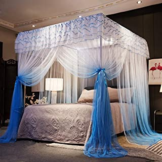 Nattey 4 Corner Poster Princess Bed Curtain Canopy Canopies for Girls Boys Adults Bed Gift Bedroom Decoration Accessories (Twin, Blue and White)