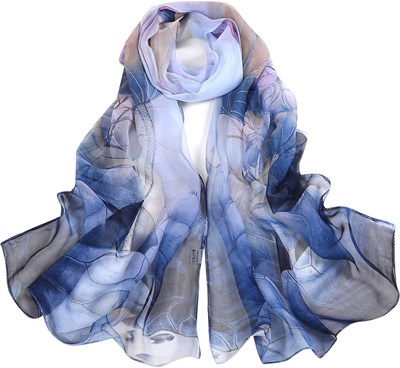 HEEKPEK Women's Fashion Silk Scarves Lightweight Print Floral Pattern Shawl Sunscreen Shawls Wraps for Spring 62x19 Inch