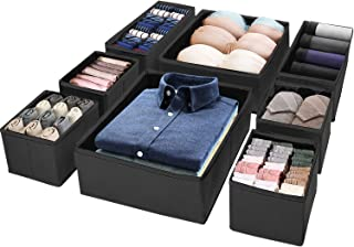 Puricon (8 Set) Clothes Organizers Dresser Drawer Organization, Foldable Closet Organizer Underwear Basket Cubes Containers for Storing Bras, Baby Clothing, T Shirt, Socks, Scarves, Ties -Black