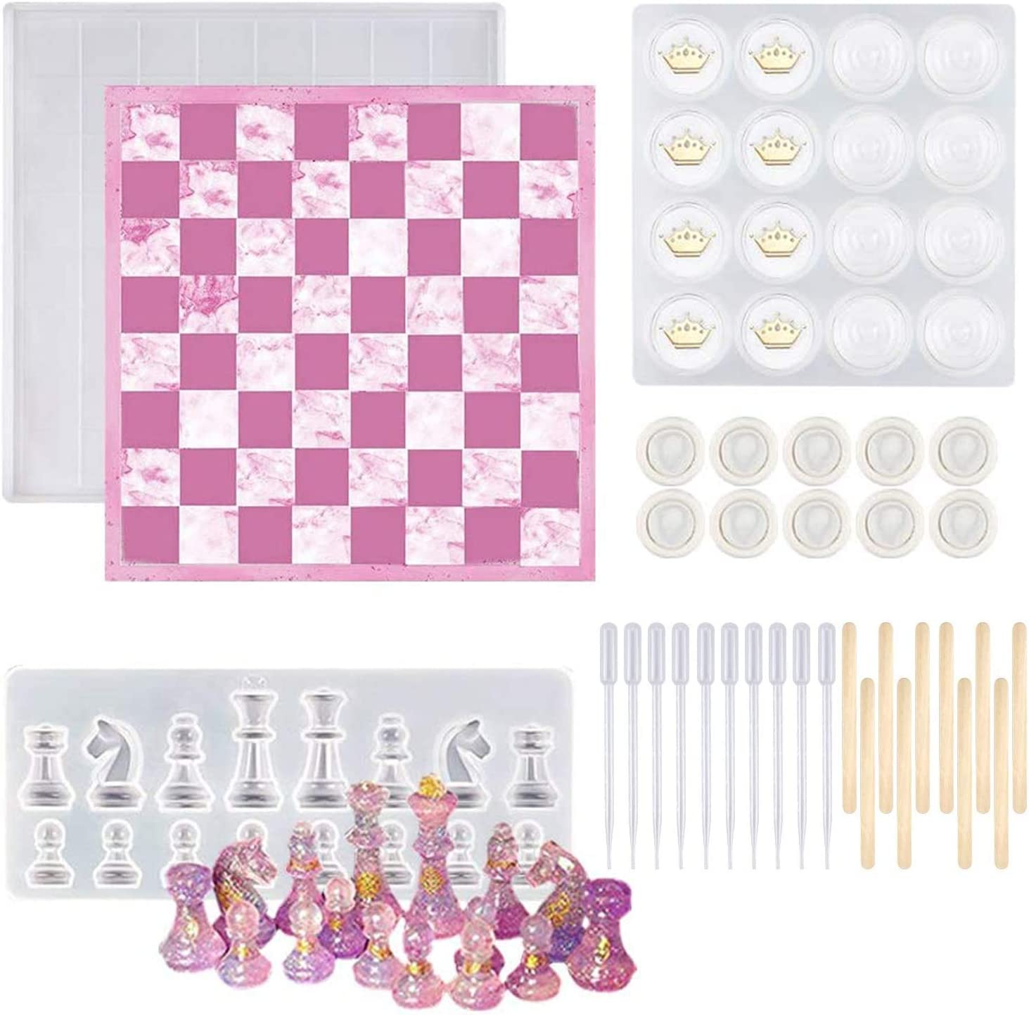 LTBLBY Chess Board Silicone Popular standard Financial sales sale Resin 33PCS Checker Molds S 3D
