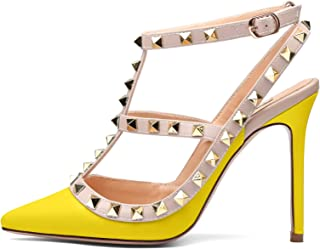 a583322dba4 Chris-T Women Pointed Toe High Heels Studded Strappy Slingback Stilettos  Leather Sandals Pumps 4