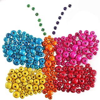 260ad9bf9f15 NACTECH 1000 Piezas Cuentas Redondas de Madera Colores Cuentas y Abalorios  Madera Niños para Collares Manualidades