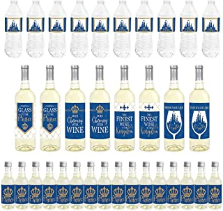 Big Dot of Happiness Royal Prince Charming - Mini Wine Bottle Labels, Wine Bottle Labels and Water Bottle Labels - Baby Shower or Birthday Party Decorations - Beverage Bar Kit - 34 Pieces
