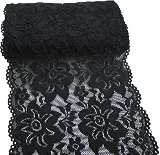 LaRibbons 6 Inch Black Embroidery Floral Stretchy Lace Elastic Trim Fabric for Garment and DIY Craft Supply- 5 Yard