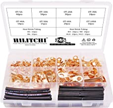 Hilitchi 245-Pcs Open Barrel Wire Crimp Copper Ring Lugs Terminal Connector with 2:1 Heat Shrink Tubing Assortment Kit - OT 5A 10A 20A 30A 40A 50A 60A 100A