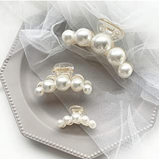 3Pcs Hair Claw Clips for Women,LYDZTION Pearl Claw Hair Clips Non Slip Hair Clip Jaw Clips Styling Accessories for Women G...