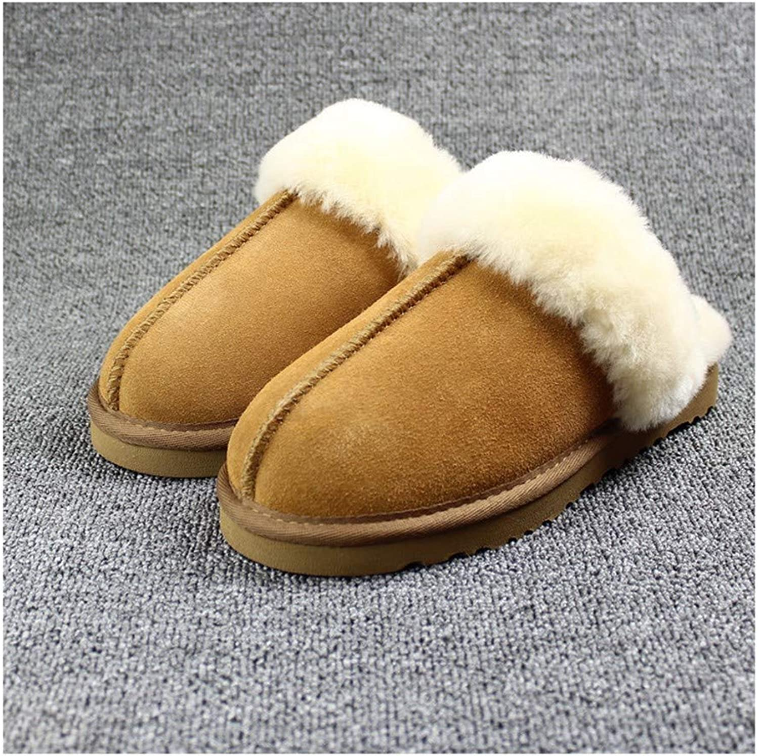 GAOHUI Men High-End Handmade Cotton Slippers Indoor Thermal Skid Slippers Chestnut