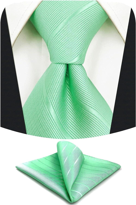 S&W SHLAX&WING Men Ties Necktie Set Solid Turquoise Striped Dark Fringe