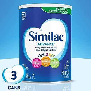 Similac 雅培 Advance 强化配方婴幼儿含铁奶粉, 每罐36盎司(1.02kg)(3罐装)