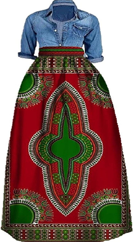 Shele Women's African Print Dashiki Long Maxi A Line High Waist Skirt Ball Gown(M5XL)