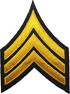 Papapatch Chevrons Sergeant E-5 Stripes US Army Rank Sew on Iron on Arms Shoulder Embroidered Applique Patch - Black and Yellow (IRON-CHEV-BKGL)