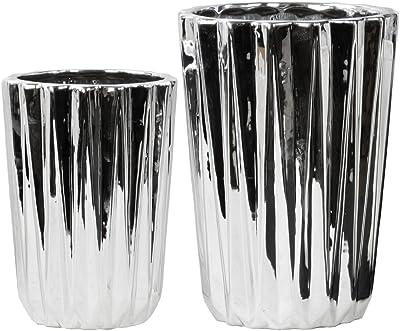 Darice 30007210 Ribbed Ceramic Vase 10 Inches Black
