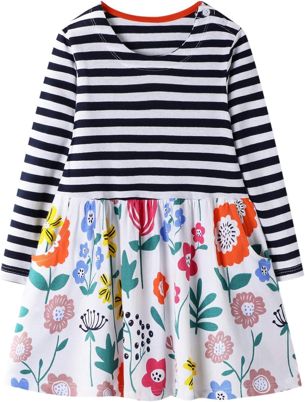 BIBNice Toddler Girls Cotton Long Sleeve Casual Fall Dresses 2-7T