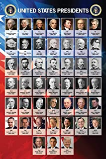 Presidents of The United States USA Chart Classroom Laminated Dry Erase Sign Poster 24x36