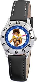 Disney Kids' D845S006 High School Musical Chad Time Teacher Black Leather Strap Watch
