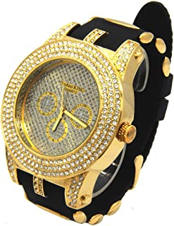 Mens Gold Case CZ Iced Out Bling Techno King Quartz Wrist Watch watches